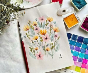 art, colors, and watercolor image