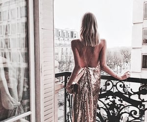 dress, girl, and gold image