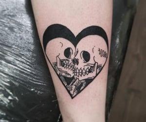 black n white, heart, and tattoo image