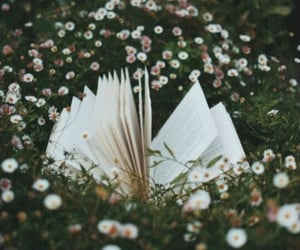 book, flowers, and fantasy image
