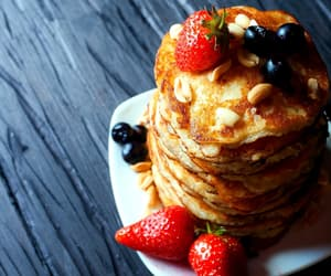 blueberry, pancakes, and strawberry image