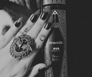 aesthetic, black and white, and nails image