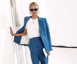 blue, outfit, and suits image