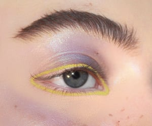 freckles, makeup, and yellow image