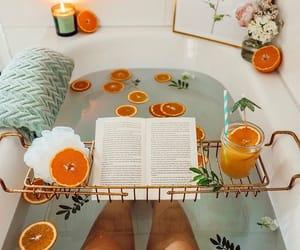bathtub, book, and FRUiTS image