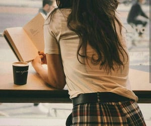 book, fashion, and coffee image