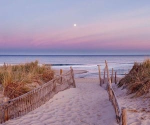 beach, moon, and pink image