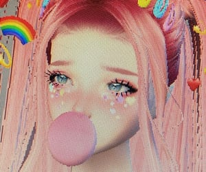 3d, bubble gum, and cyber image