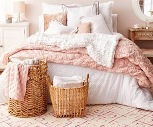 bedrooms, pink, and white image
