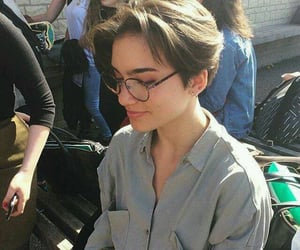 girl, glasses, and short hair image