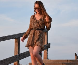 animal print, girl, and golden hour image