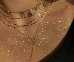 glitter, gold, and necklace image