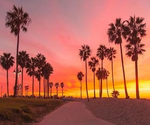sunset, beach, and california image