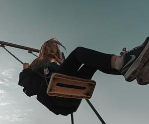 girl, aesthetic, and swing image