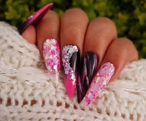 dark nails, glitter nails, and ombre nails image