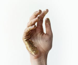 glitter, gold, and hand image
