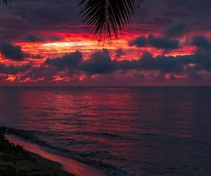 beach, sunset, and clouds image