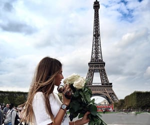 flowers, hair, and paris image