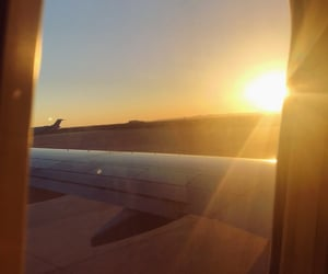 fly, sun rise, and plane image