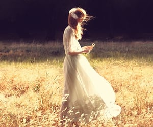 field, girl, and gold image