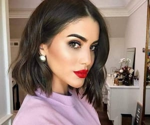 make up, red lips, and short hair image