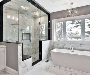 bathroom, marble, and white image