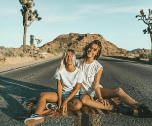girls, road, and travel image
