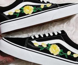 black, flowers, and vans image
