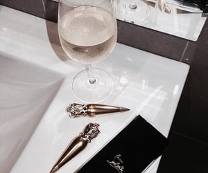 champagne, drink, and lipstick image