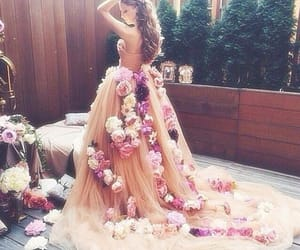 dress, flowers, and pink image