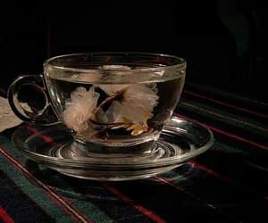 tea, flowers, and black image