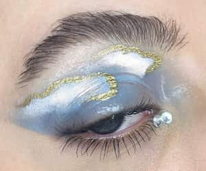 makeup, blue, and clouds image
