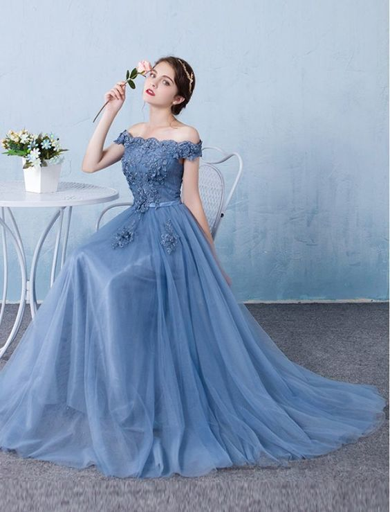 Elegant Baby Blue Prom Dress,Off The Shoulder Party Dress
