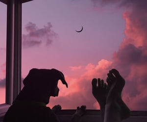 dog, sky, and sunset image