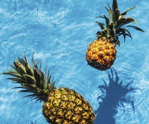 pineapple, blue, and summer image
