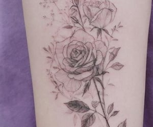 flowers, ink, and purple image