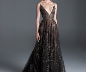 black dress, embroidery, and haute couture image