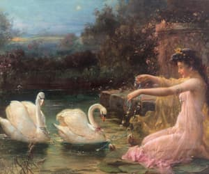 art, painting, and swans image