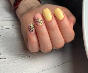 girl, leaves, and nails image