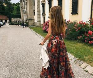 beautiful, long dress, and roses image