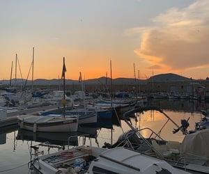 boats, marina, and scenery image