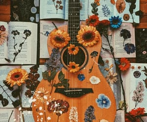 guitar, aesthetic, and books image