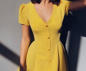 yellow, dress, and outfit image