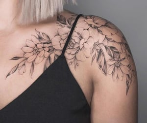 blonde, tattoo, and flowers tattoo image