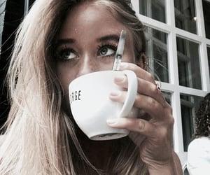 hair, coffee, and girl image