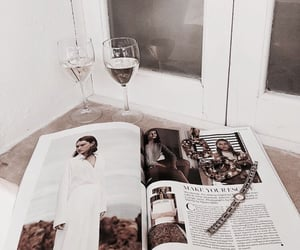 drink, magazine, and reading image
