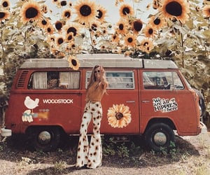 sunflower, girl, and hippie image