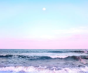 evening, moonrise, and ocean image