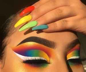 makeup, rainbow, and nails image