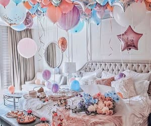 balloons, bedroom, and birthday image